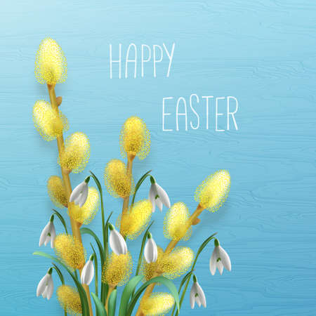 Happy Easter greeting card with snowdrops and blooming willow branches.