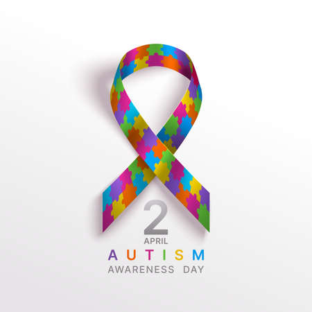 Autism awareness world day vector illustration. Puzzle multicolor ribbon on a light backdrop with shadow. 2nd April day for children with brain development disability banner.