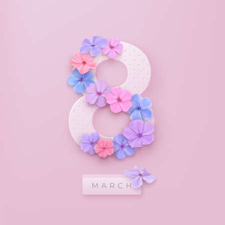 March 8. International Women's Day. Delicate Phlox flowers in pastel colors. Vector spring holiday illustration. Paper cut out number eight on a pink backdrop.
