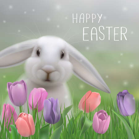 Happy Easter greeting card wit rabbit in grass and flowers