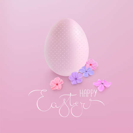 Happy Easter greeting card. Easter egg and flowers Vettoriali
