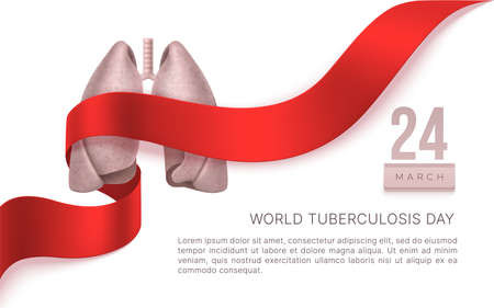 Tuberculosis Day 24 March. Lngs and ribbon