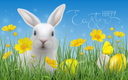Happy Easter greeting card with hare in grass and flowers