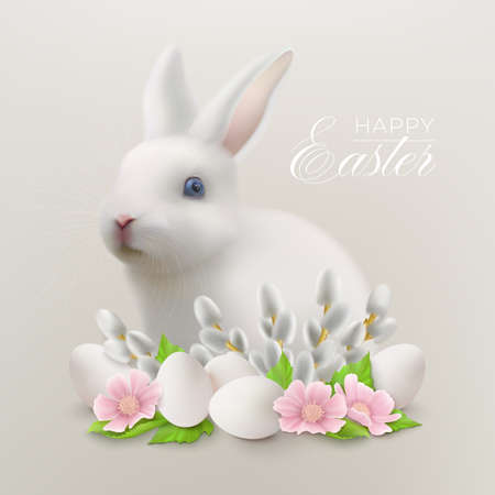 Happy Easter background with hare, flowers with willow and Easter eggs