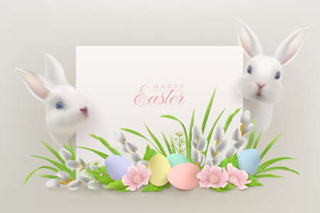 Happy Easter background with hares, flowers with willow and Easter eggs