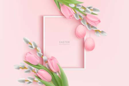 Happy Easter realistic background with frame, willow, pink tulips