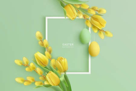 Happy Easter realistic background with frame, willow, tulips Vettoriali