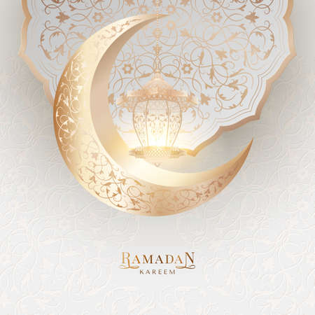 Ramadan Kareem happy holiday background with islamic pattern moon, arabesque and glowing lantern on a light backdrop. Vector greeting card Vettoriali