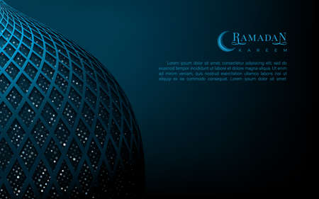 Ramadan kareem islamic luxury background with patterned crescent moon under circle shape layout and golden greeting text on dark backdrop. Vector postcard. Vettoriali