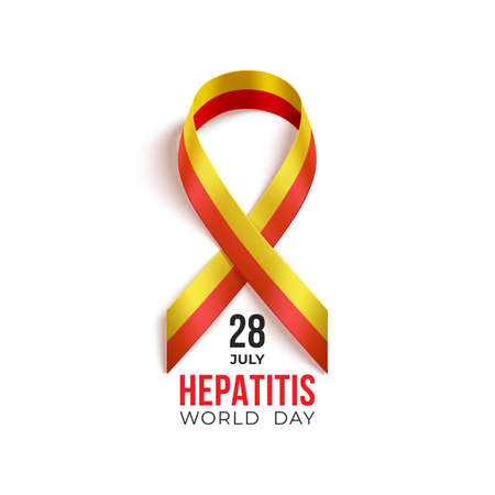 World Hepatitis day July 28 background with red and yellow ribbon. Medical solidarity day concept. Vector illustration. Vettoriali