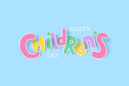 Happy childrens day background with multicolored paper letters with shadow on a light backdrop Vettoriali