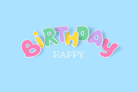 Happy Birthday background with multicolored paper letters with shadow on a light blue backdrop