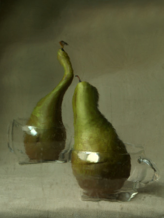 dissension: Two curved green pears in glass cups with handles, a picture through the wet glass, which makes it look like an oil painting, a gloomy greenish background, a metaphor for quarrel.