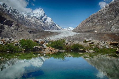 northern light: Blue glacial lake: in the mirror of water reflects a bright sky with white clouds, green plants along the edge of the water and huge mountains with ice top around, Zanskar, Himalayas, India. Stock Photo