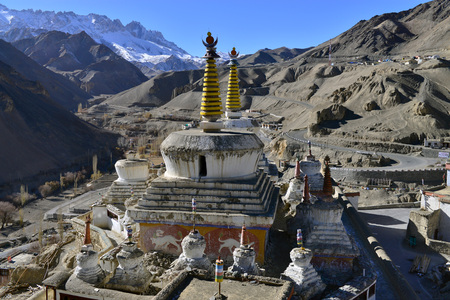 The huge ancient Tibetan white stupa inside the courtyard is a Buddhist monastery in Ladakh, Northern India.