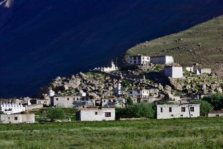 monastic: Tibetan Buddhist monastic complex on the mountainside among lush vegetation green fields, mountain village, dark background, sunset, Himalayas.