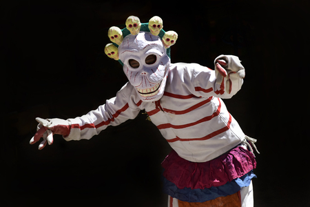Dance of a Buddhist lama in a skeleton costume, the Cham Dance, the sacred cerimony in the monastery of Karsh, Zanskar, Northern India.