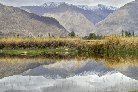 Mountain lake in cloudy autumn weather, the water mirrors the massive mountains, in the middle there is a strip of yellow grass. Stock Photo