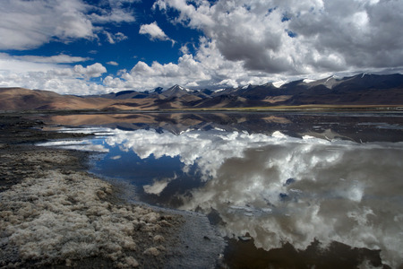 Mountain lake with a mirror surface of water, in which the sky and mountains are symmetrically reflected, in the foreground the shore, Himalayas. Stock Photo