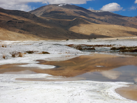 Valley of hot mineralized springs in Ladakh, Himalayas, Northern India.