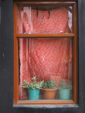 Window With Bright Red Curtains A Brown Vintage Frame But