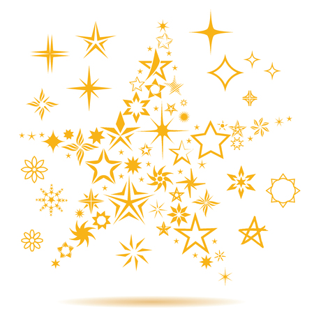 Stars making a star celeberties, winner, top, award, flowers, snowflakes, outer space, childerns icons, bussness success, leader