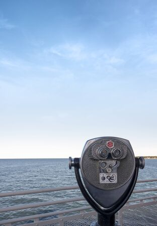 coin pay per view  permanently mounted on a stalk bifocal tourist binoculars