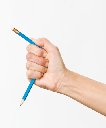 hand with broken pencil photo