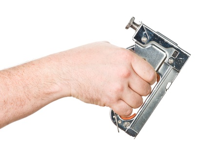 staple gun: hand with staple gun