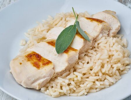 chicken breast sliced with rice