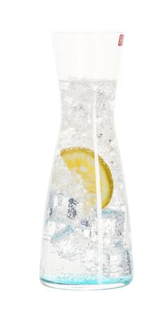 water bottle with ice and lemon on white isolated