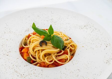 pumpkin and mint pasta on white