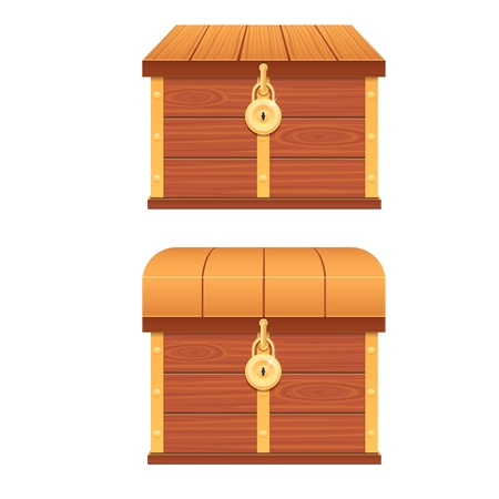 Wooden chest isolated on white background Vector