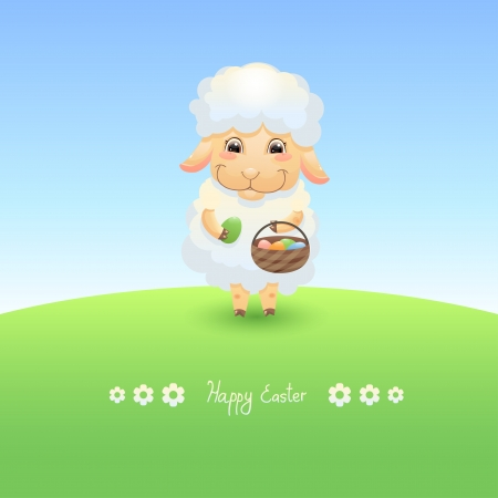 Lamb with basket and Easter eggs Vector