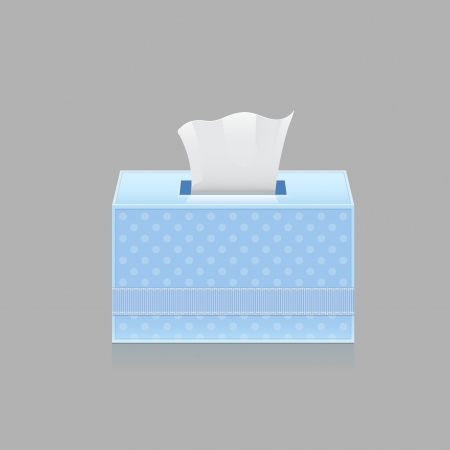 hanky: Napkins in the box isolated on gray background