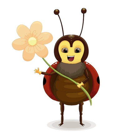 Ladybird with flower isolated on white background Stock Vector - 20747423