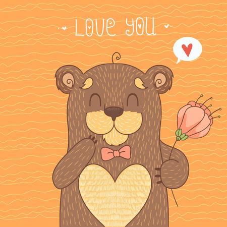 Card with cute bear Vector