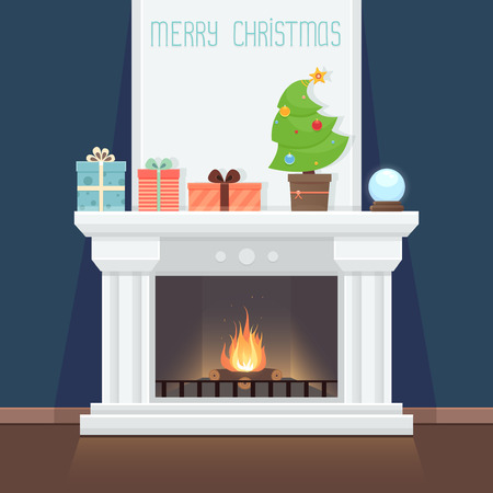 fireplace: Christmas card with fireplace Illustration