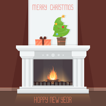 Christmas card with fireplace Illustration