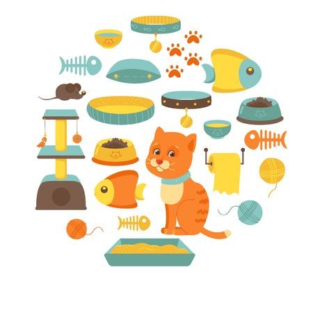 stuff toys: Set of cat stuff icons Illustration