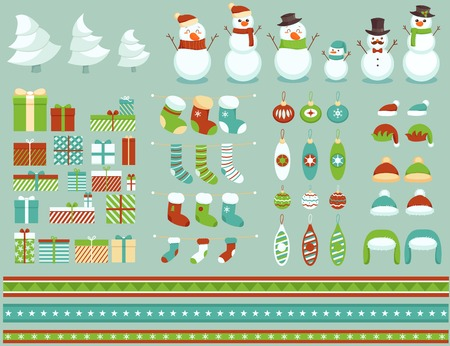 Collection of christmas and New Year design elements Vector