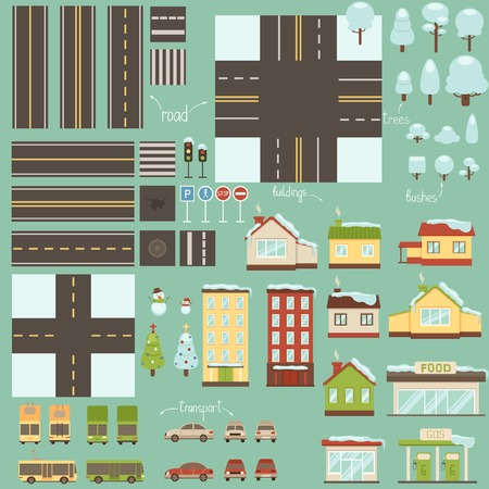 Collection of winter city design elements Vector