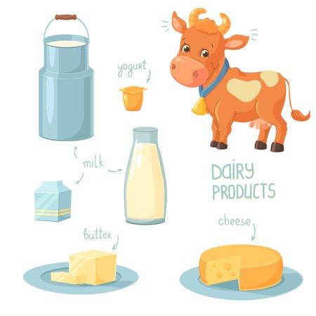 Cartoon mucca e collezione di icone di prodotti lattiero-caseari