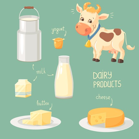 Cartoon cow and collection of dairy product icons Illustration
