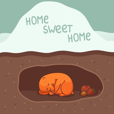 Card with cute mole sleeping in the hole Vector