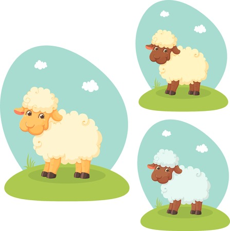 Cute cartoon lamb on lawn Vector