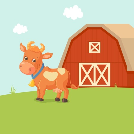 Cartoon red cow near farm Иллюстрация