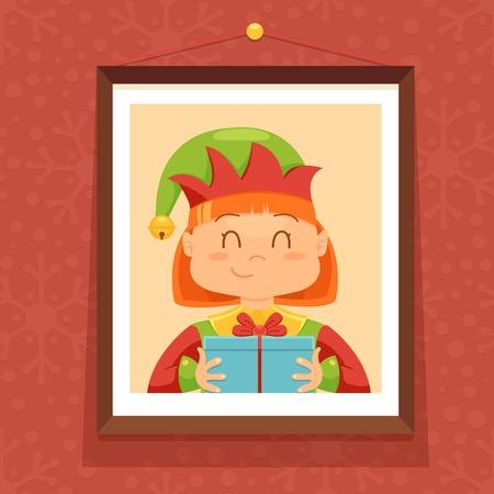 Christmas card with cute elf Vector