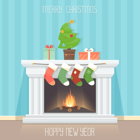 fireplace: Greeting card with fireplace, fir tree and socks