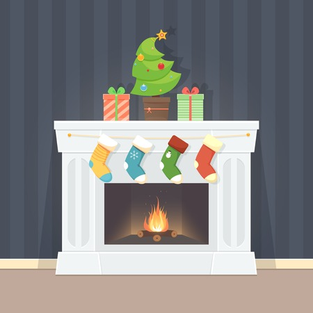 Greeting card with fireplace, fir tree and socks Vector